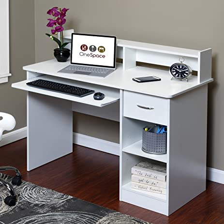 onespace essential computer desk hutch with pullout keyboard white