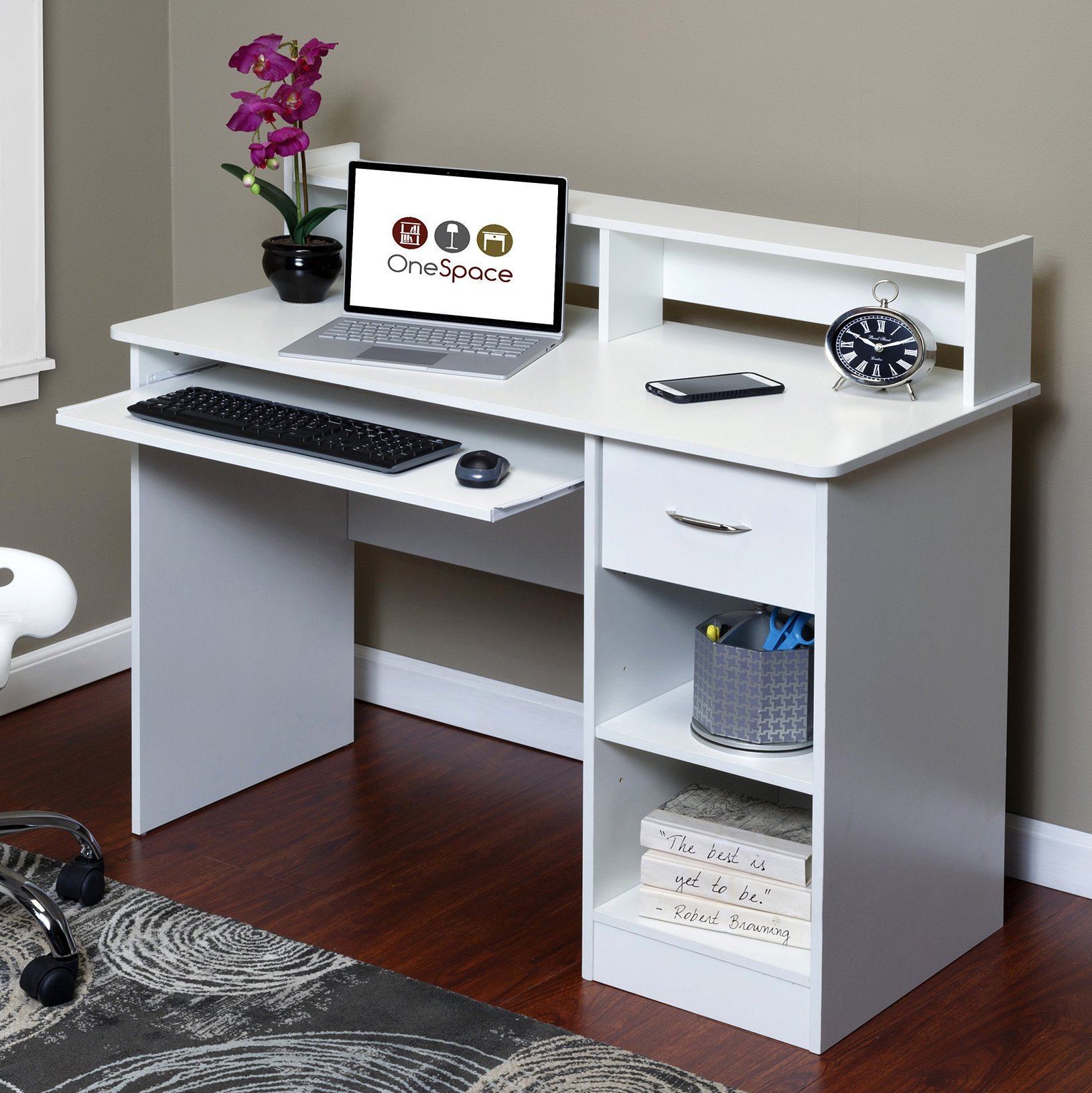 OneSpace 50-LD0101 Essential Computer Desk, Hutch with Pull-Out Keyboard, White