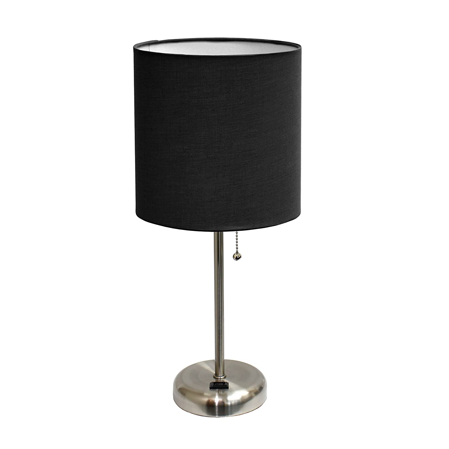 Limelights LT2024-BLK Brushed Steel Lamp with Charging Outlet and Fabric Shade
