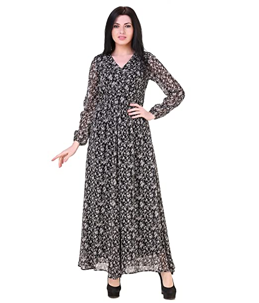 4a5863edab2445 American-Elm Women's Multicoloured V-Neck Full Sleeves Dress Black ...