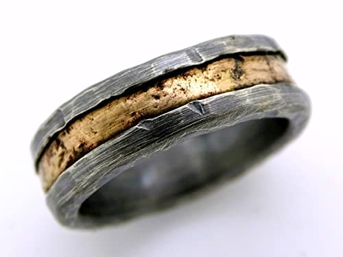 industrial ring minimalist ring Wide iron ring rustic ring