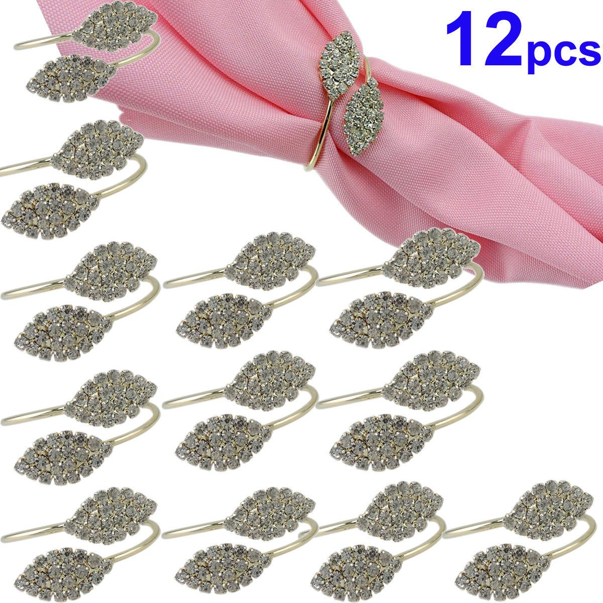 TOPCHANCES Silver Napkin Rings Set of 12 Pcs Rhinestone Napkin Ring Handmade Serviette Buckle Holders for Wedding and Party Dinner Table Decoration