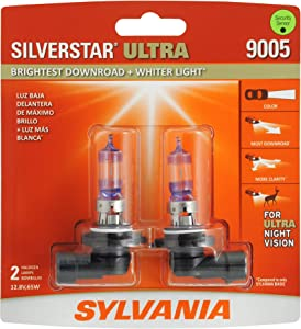 SYLVANIA - 9005 SilverStar Ultra - High Performance Halogen Headlight Bulb, High Beam, Low Beam and Fog Replacement Bulb, Brightest Downroad with Whiter Light, Tri-Band Technology (Contains 2 Bulbs)