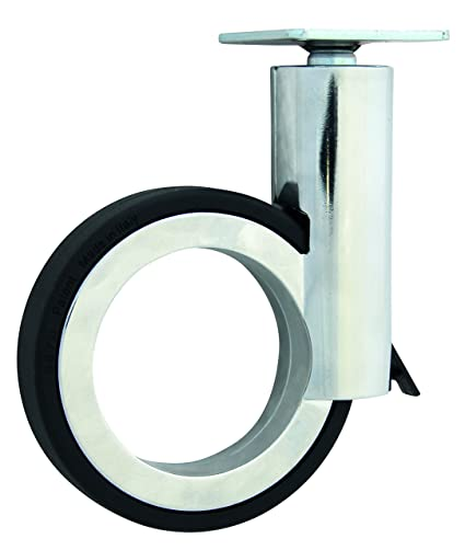 HSI Diseño de Ruedas para muebles (con placa y freno zamak, cromo/negro