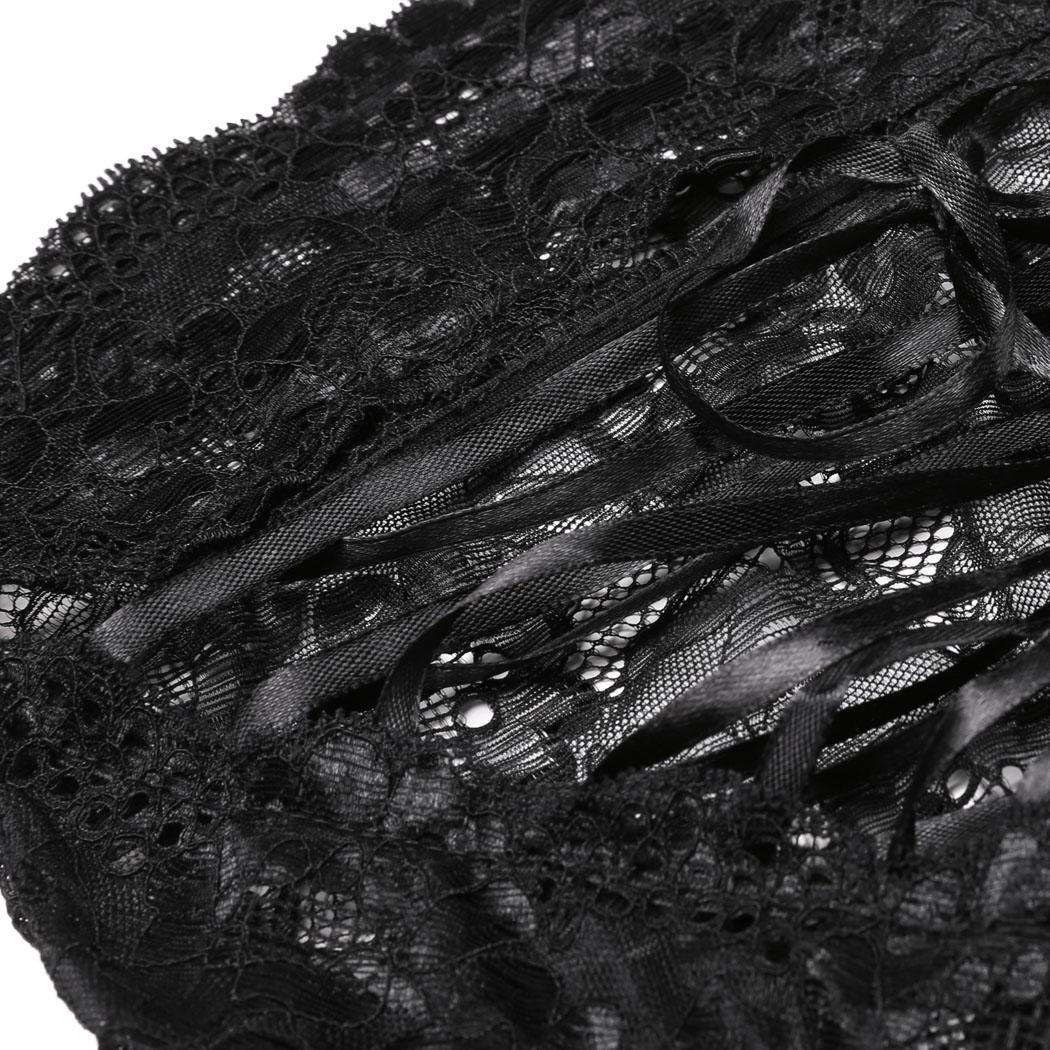 Vividy Women Sexy Hollow Floral Lace G-String Briefs Panties Thongs Lingerie Underwear Knickers Thongs Black