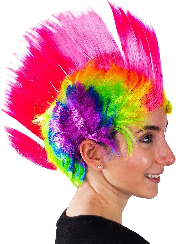 Costume Accessory fnt Adult size Rainbow 80/'s Street Punk Mohawk Wig