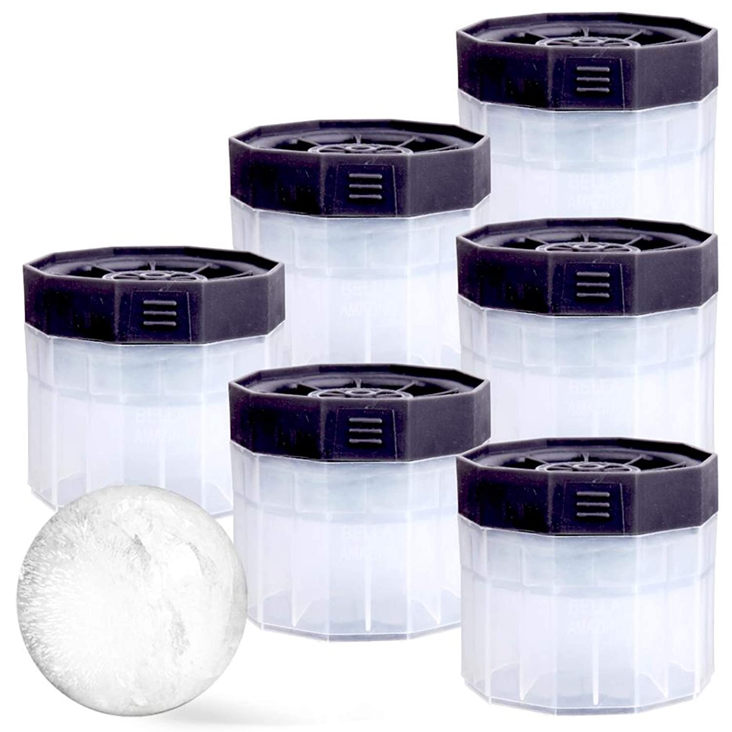 PREMIUM Ice Ball Molds (6-Pack), BPA Free 2.5 Inch Ice Spheres. Slow Melting Round Ice Cube Maker for Whiskey and Bourbon
