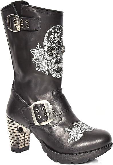 à en Biker Longueur du Talon Enfiler Chaussures Femmes Mollet Gothique Bloc Bottes Cuir Noir New Rock K1cTJ3lF