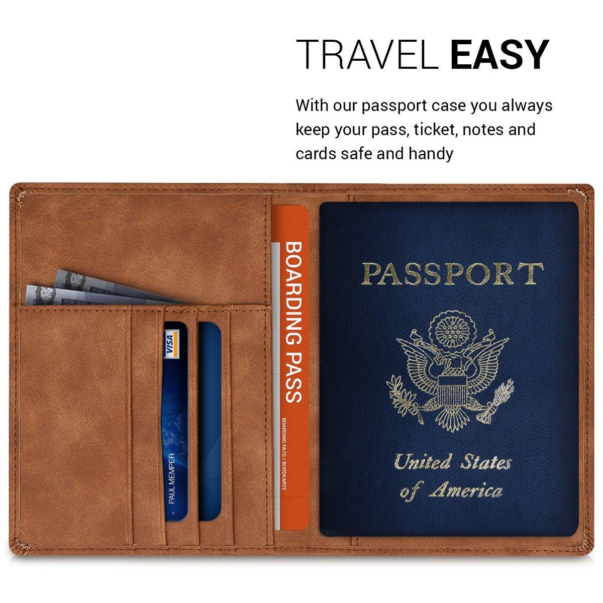 kwmobile Porte-Passeport avec Compartiments Cartes avec Emplacement Carte Bleue /Étui de Protection Simili Cuir Fuchsia-Anthracite Portefeuille Passeport