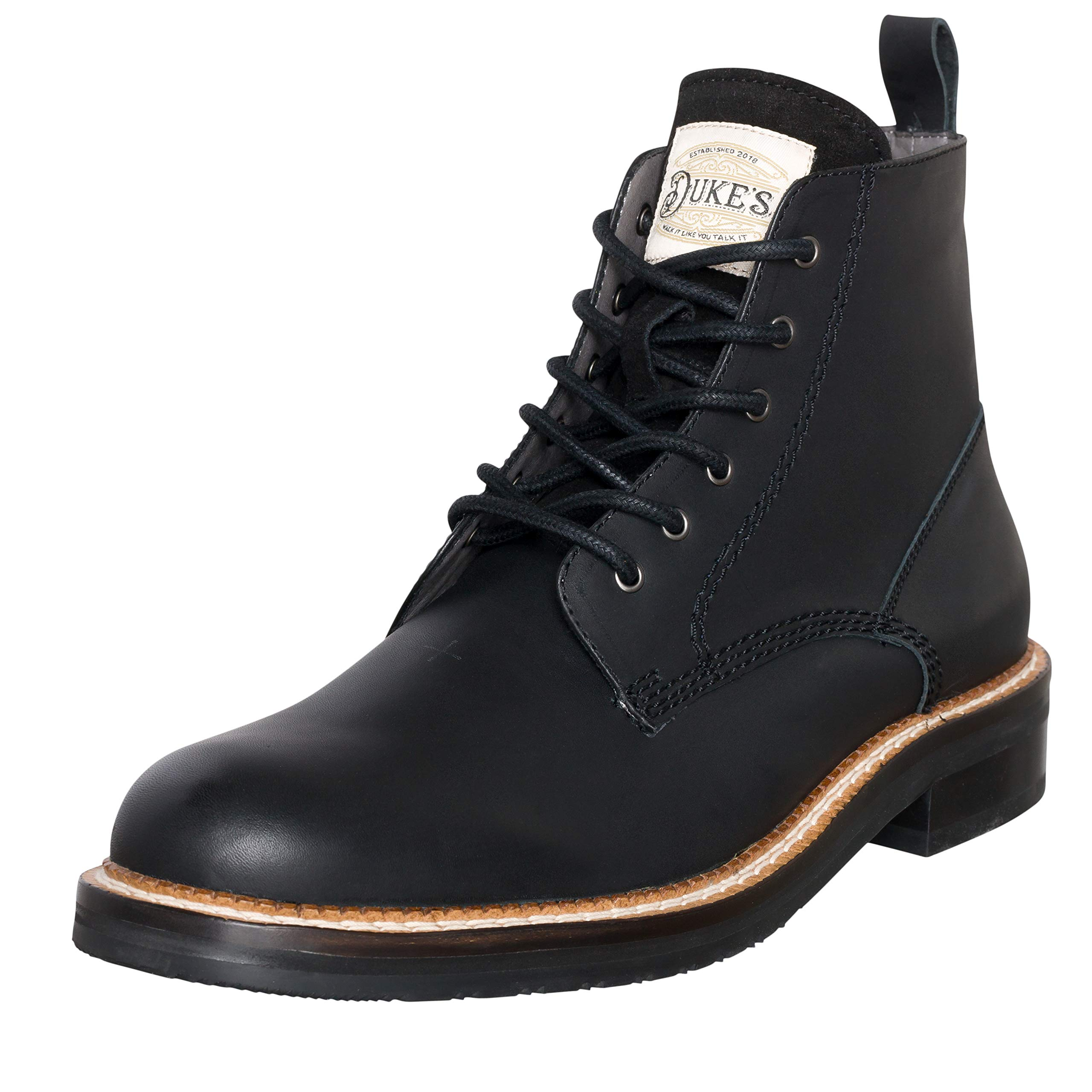 Duke's Mens Boots - Austin Leather Boot with Premium Cushion Insole (Black)