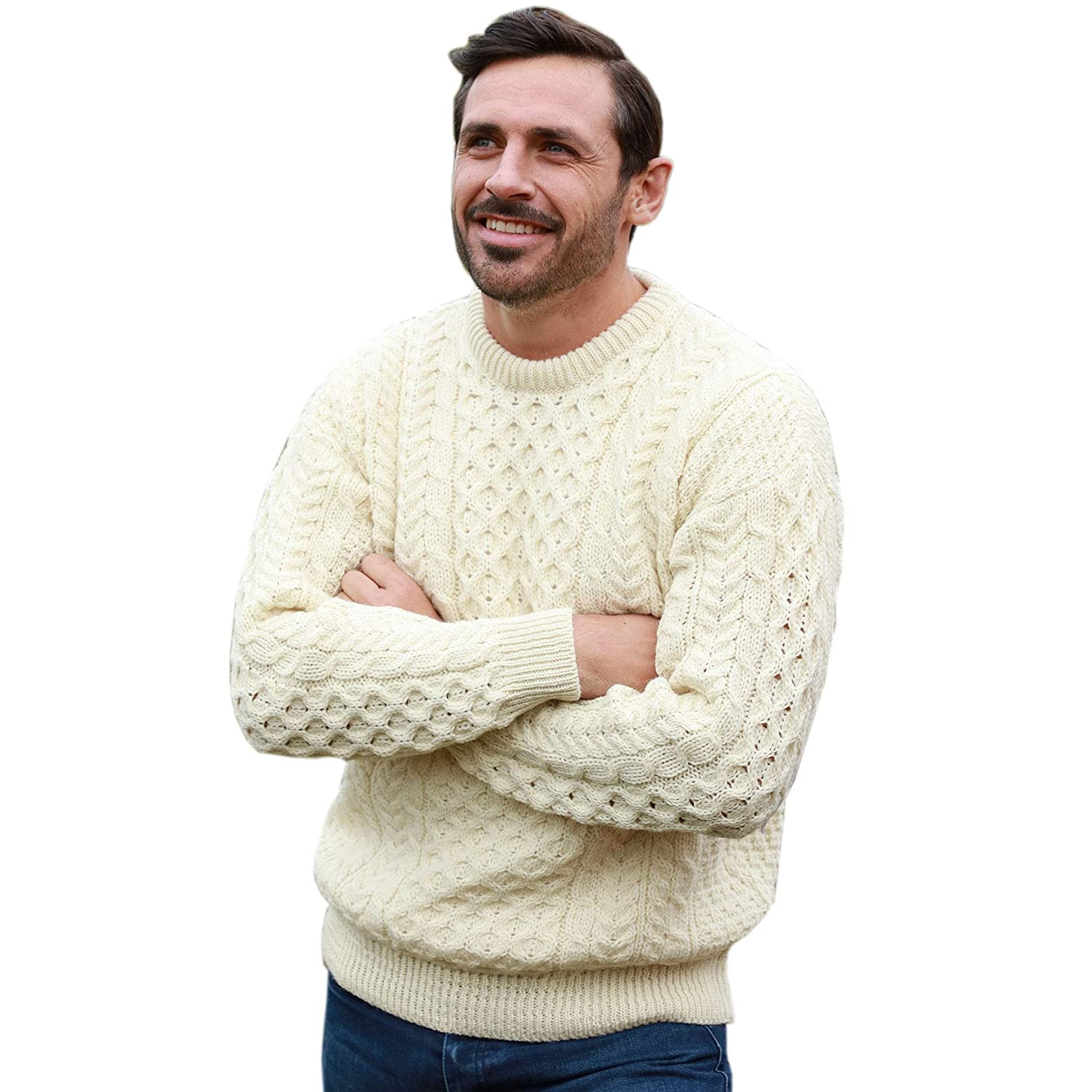 1920s Mens Sweaters, Pullovers, Cardigans Mens Irish Wool Sweater 100% Real Irish Wool Traditional Knit Pattern Natural $89.73 AT vintagedancer.com