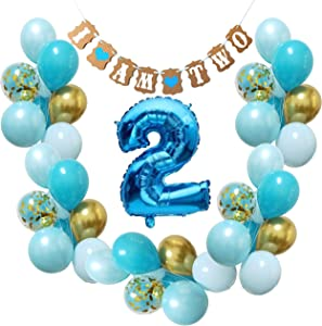 Baby Boy 2nd Birthday Decorations -Blue gold Balloons for Second Bday Party Supplies Décor Banner I am Two and Royal Foil Number Balloon for 2 years old (Turquoise Aqua Blue + Gold)