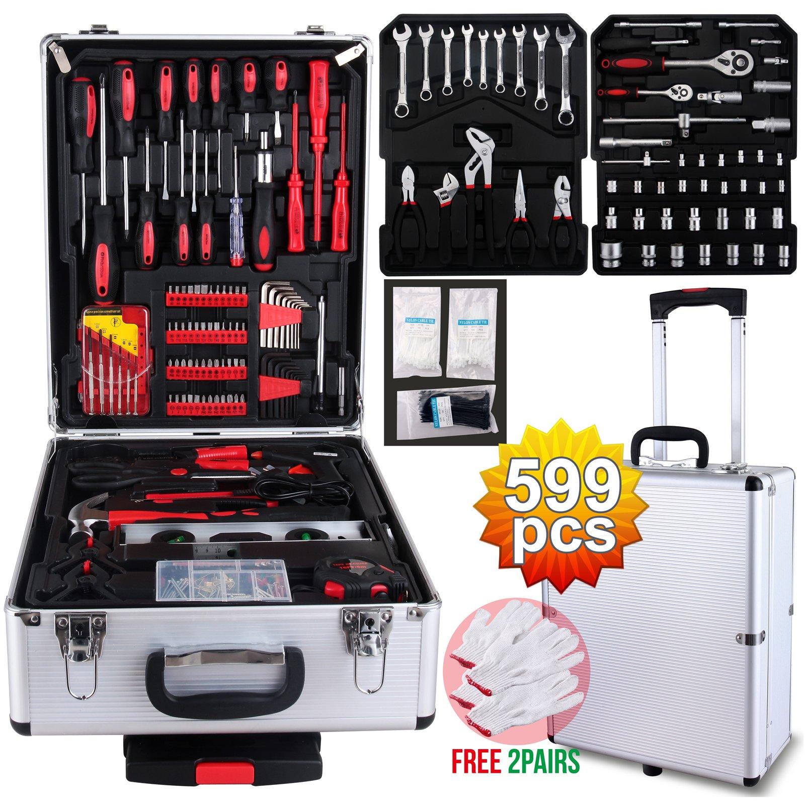 SUNCOO Mechanics Tool Set Standard Metric Hand Tool Kit with Case Box Organize Castors Trolley (599 Pcs w/Silver Case)