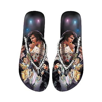 ba434354ce3bf6 Elvis Presley Women s Flip Flops  Elvis Showstopper by The Bradford  Exchange  MED (7