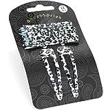 GIZZY® 12 Piece Snow Leopard Print Hair Slide & Snappy Clip Set.