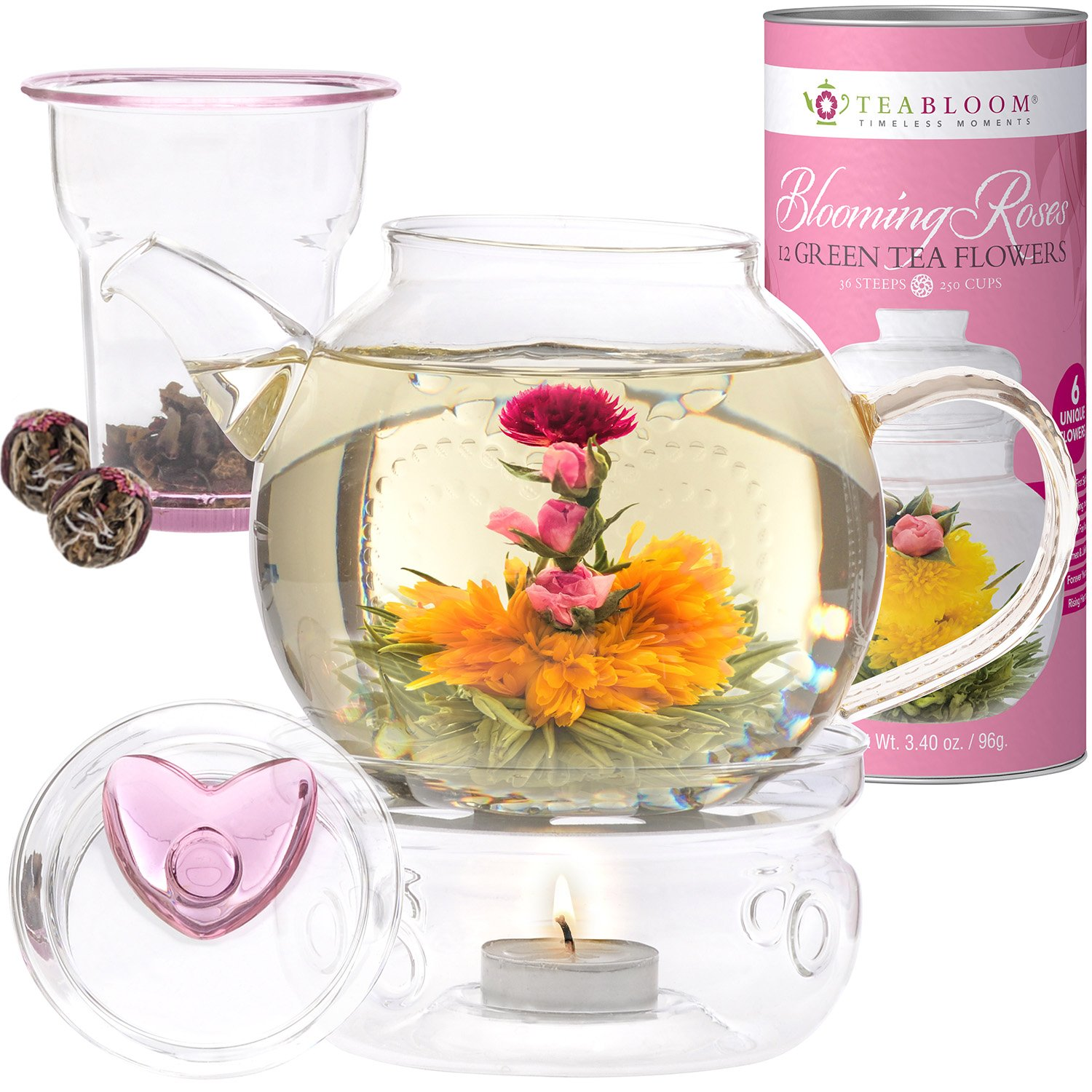 Teabloom Eternal Love Tea Gift Set - 36 oz Glass Teapot, Heart-Topped Lid, Teapot Warmer, Glass Loose Leaf Tea Infuser & Canister of 12 Rose Flowering Teas