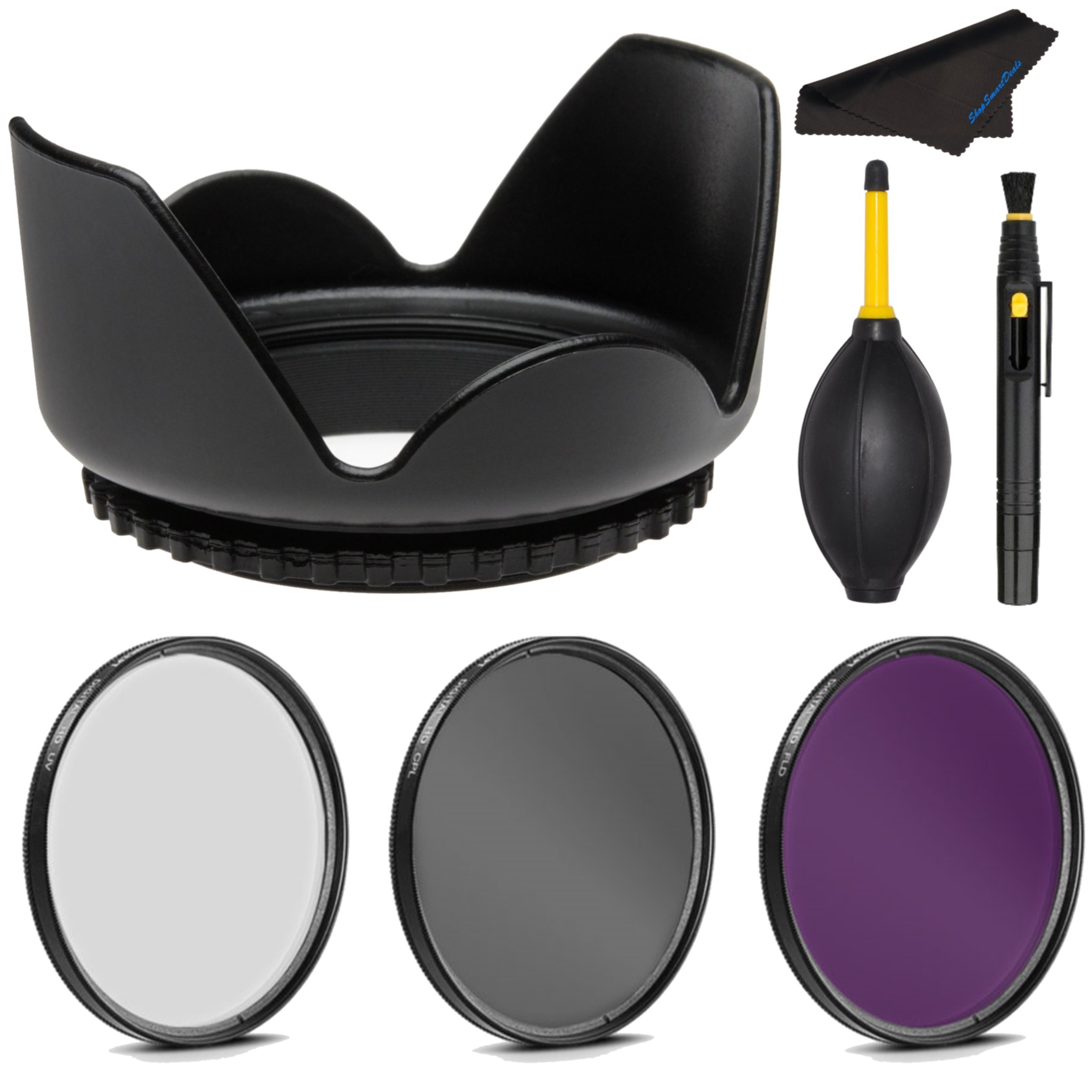 PRO 62mm Filter Kit + PRO 62 mm Tulip Lens Hood for Nikon 1 Nikkor VR 70-300mm f/4.5-5.6 - 62 mm Polarizing Filter, 62mm UV Filter, 62mm Florescent Filter & 62mm Flower Lens Shade Hood by Shop Smart Deals