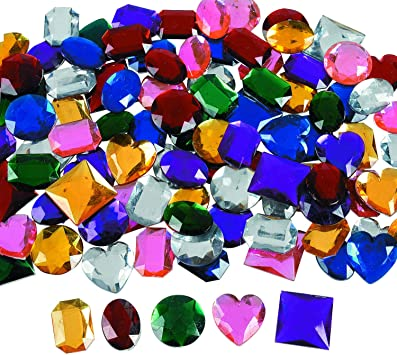 10 Jumbo Self Adhesive Jewels Gems for Kids Crafts