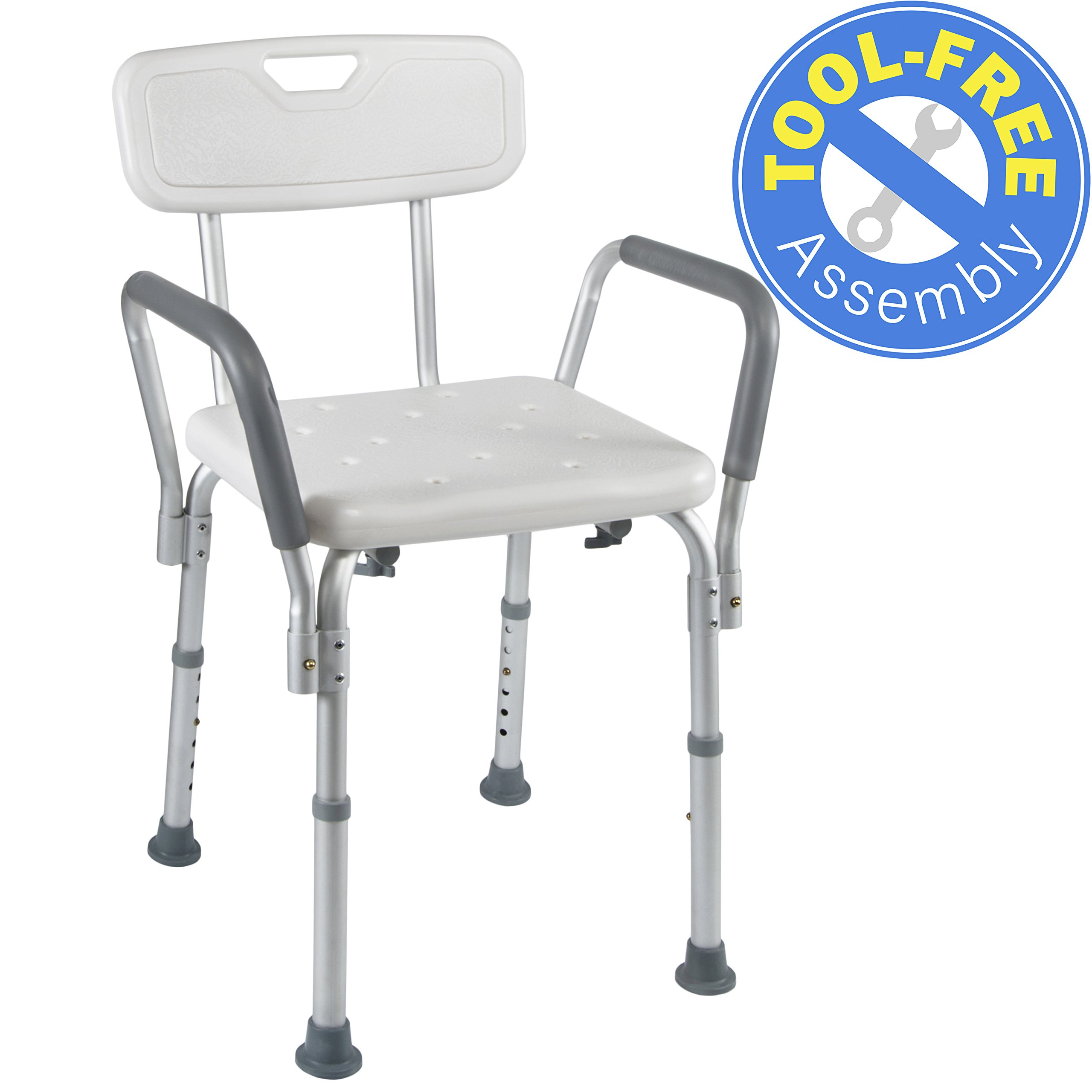 Medical Tool-Free Assembly Spa Bathtub Shower Lift Chair, Portable Bath Seat, Adjustable Shower Bench, White Bathtub Lift Chair with Arms