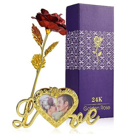 ZOYLINK 24 K Rosa Gold Artificial Flor de Rosa Caja de Regalo Regalo del día de la Madre Día de San Valentín Boda Memorial Cumpleaños Decoración ...