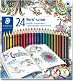 Staedtler 185 C24JB Noris Coloured Pencil with Adult Colouring Design, Assorted Colours, Pack of 24
