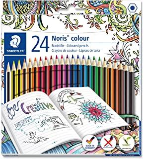 Staedtler 185 C24JB Noris Coloured Pencil With Adult Colouring Design Assorted Colours Pack Of