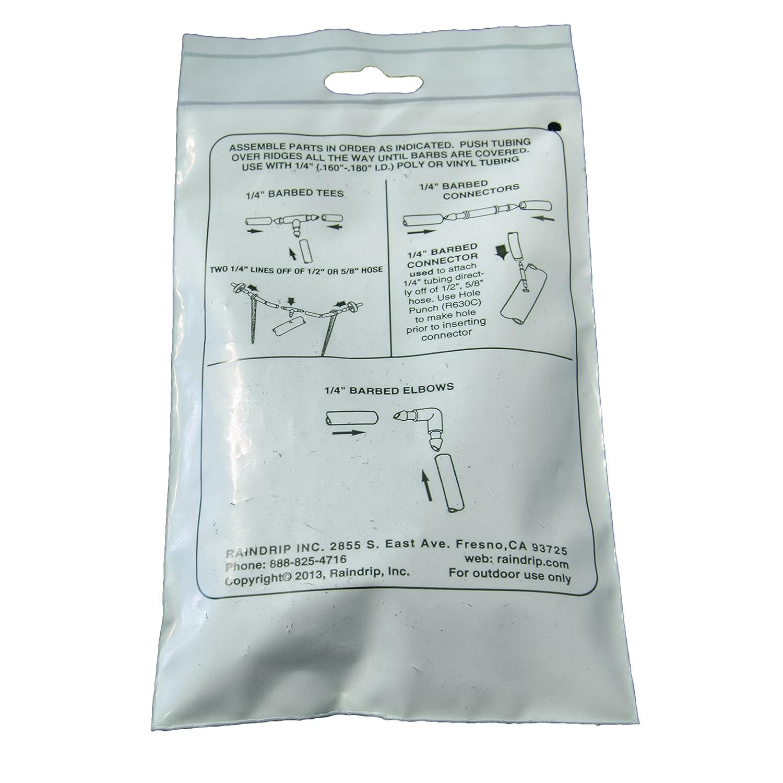 Blacks Raindrip 312050 312050B Single Barbed Connectors 50 Per Bag 1//4-Inch