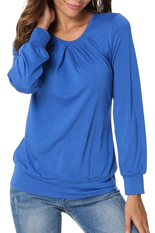 63749fc430460e ... Flying Rabbit Damen Langarmshirt Damen Kurzarm Shirt Damen Langarm T-Shirt  Rundhals Falten T- ...