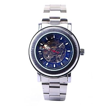 CLE DE TOUS Reloj de Pulsera Acero inoxidable Movimiento Mecánico Esfera Hueca para Hombre