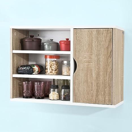 SoBuy® Armadietto da parete per il cucina, Mobile pensile da bagno,con due  ante, FRG228-WN,IT