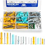 NINDEJIN Plastic Screws and Anchor Assortment, 482Pcs Plastic Self Tapping Drywall Ribbed Anchor Kit Perfect for Fixing…
