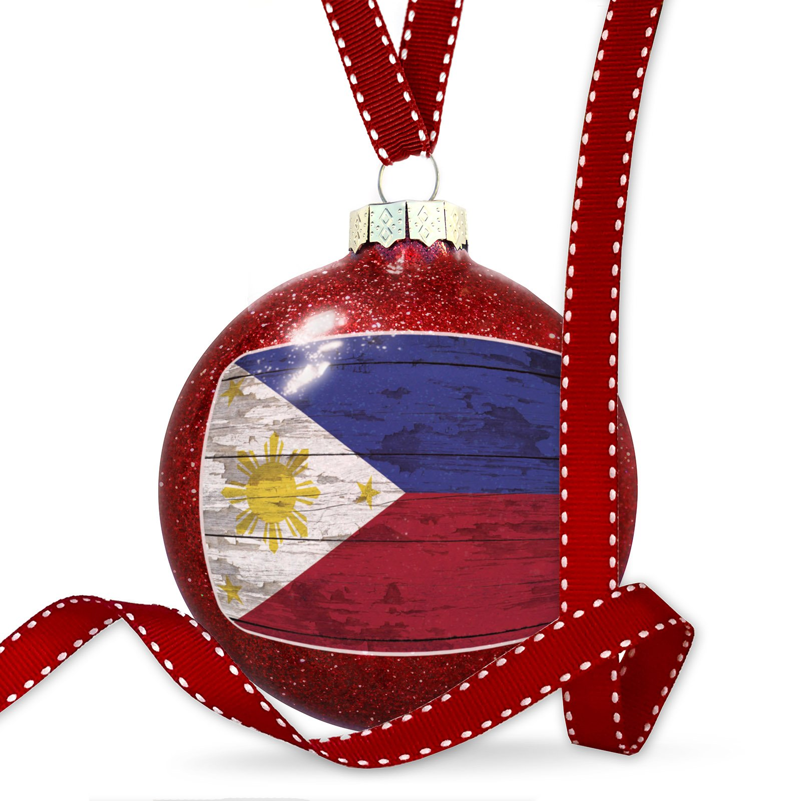 Christmas Decoration Flag on Wood Philippine Ornament