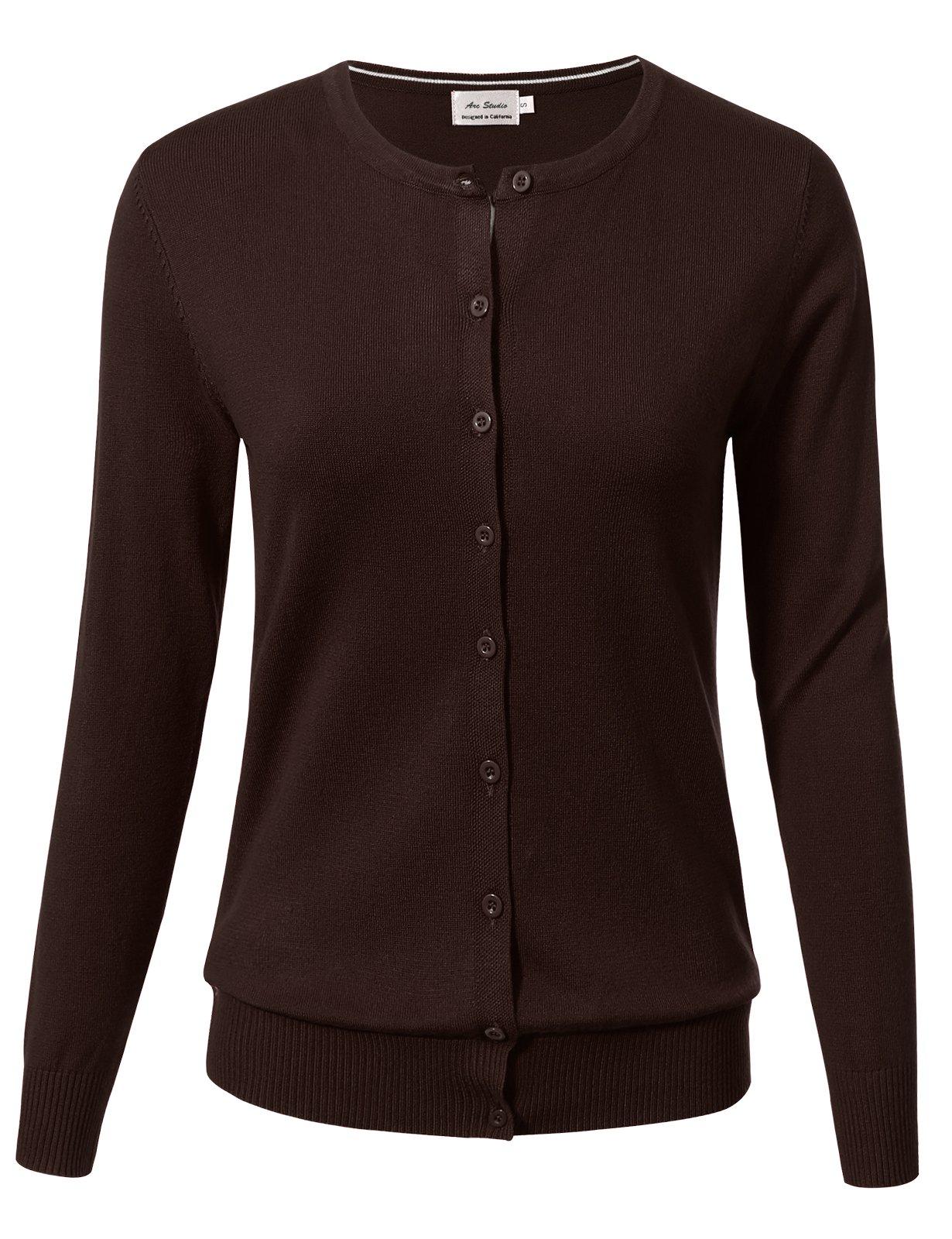 ARC Studio Women Button Down Long Sleeve Crewneck Soft Knit Cardigan Sweater 1XL Brown