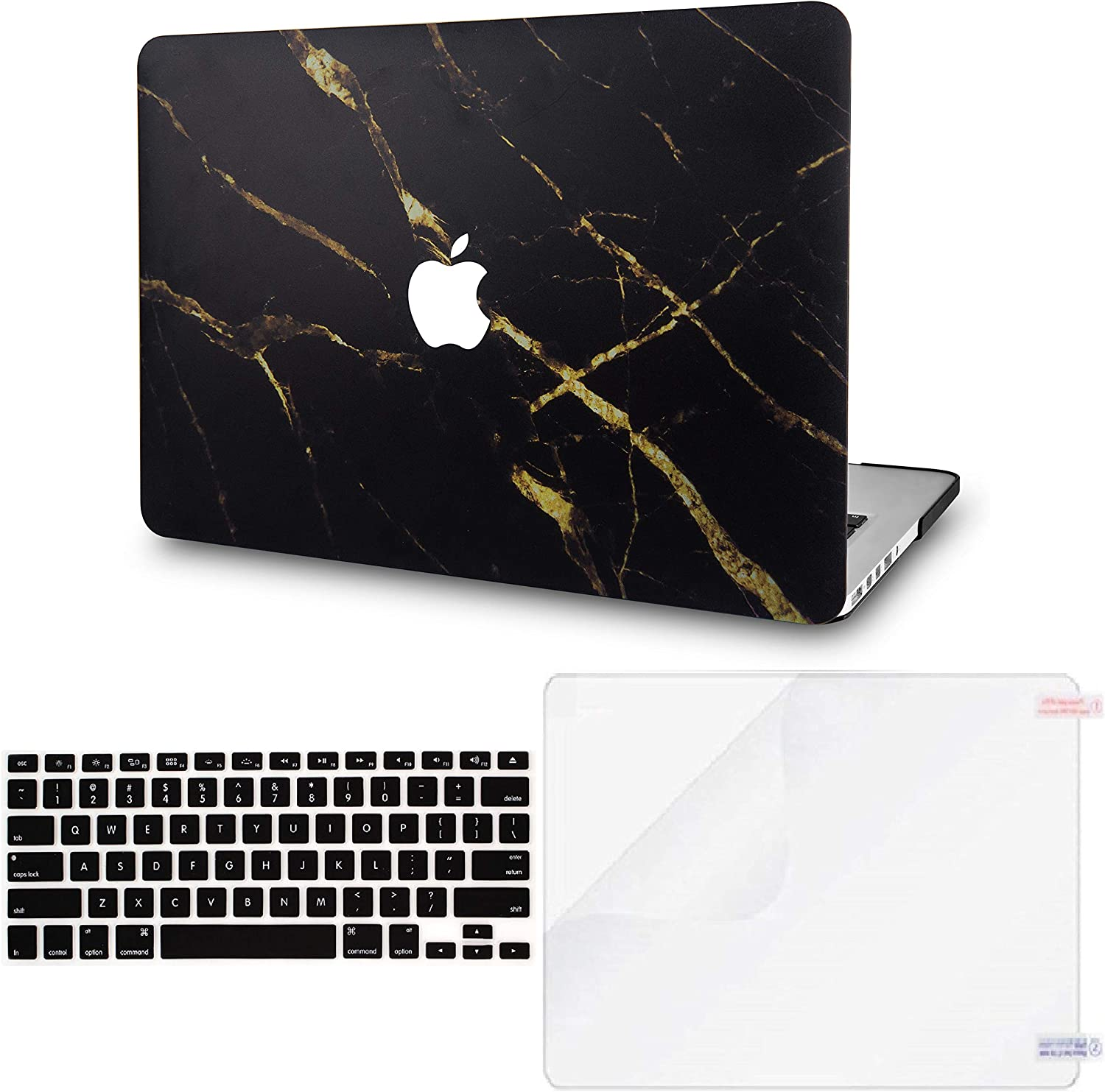 LuvCase 3 in 1 Laptop Case for MacBook Pro 16 Touch Bar (2020/2019) A2141 Hard Shell Cover, Keyboard Cover & Screen Protector (Black Gold Marble)
