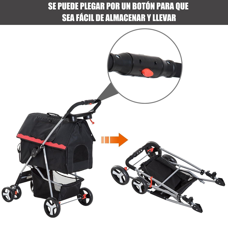 PawHut Cochecito Plegable Perro Gato Carrito Mascotas Transportin 4 Ruedas Caseta y Cesta Desmontable con Freno Carga 15kg 82x47x101cm Acero: Amazon.es: ...