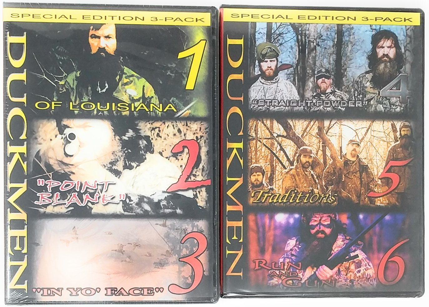 DUCK COMMANDER 1, 2, 3, 4, 5, 6 Combo Pack of Duckmen Hunting DVD, of Louisiana, Point Blank, in Yo Face, Straight Powder, Traditions, Run and Gun (1,2,3,4,5,6 Combo Pack)
