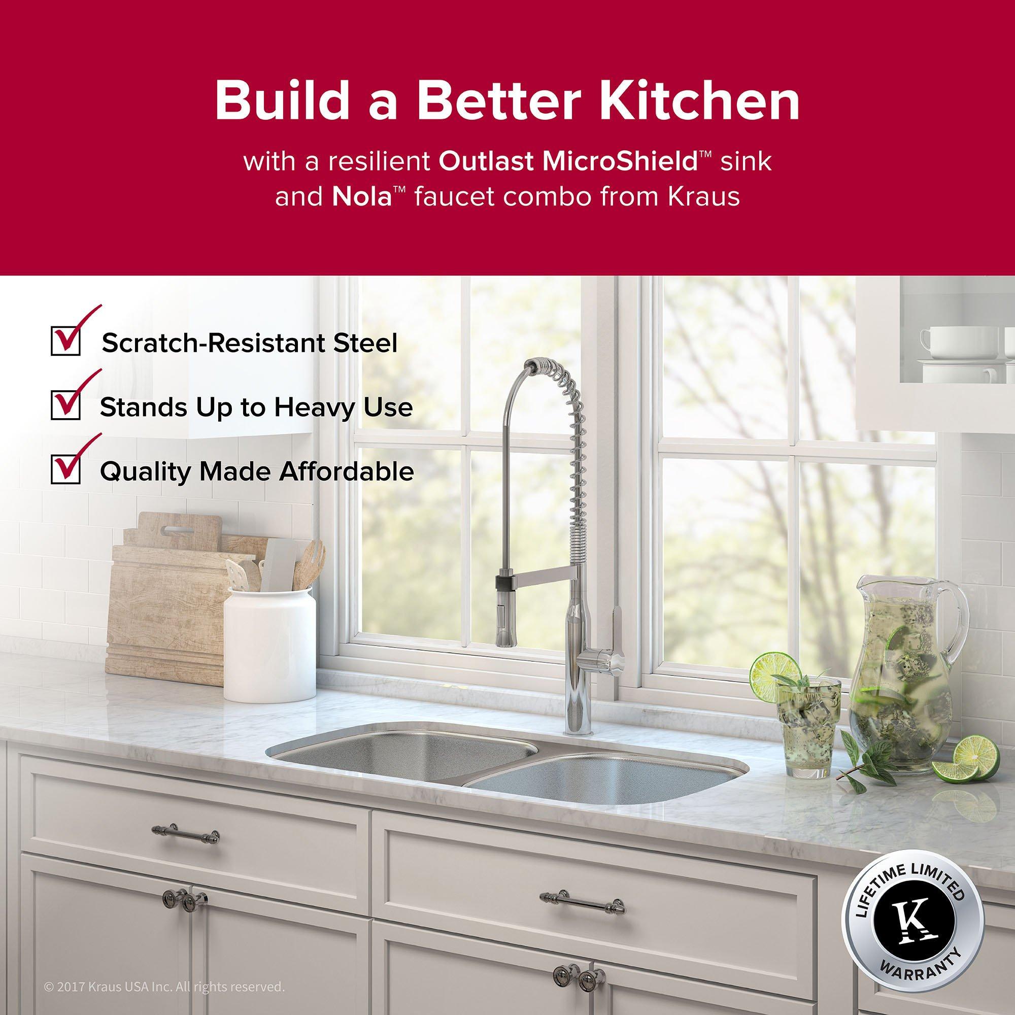 Kraus Outlast MicroShield Scratch-Resist Stainless Steel Undermount 50/50 Double Bowl Sink, 32'' 16 Gauge, Premier Series KBU22E by Kraus (Image #3)