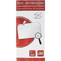 Clairefontaine 15965C Bloc encollé de 50 Enveloppes adhésives 11 x 22 cm 80 g Blanc