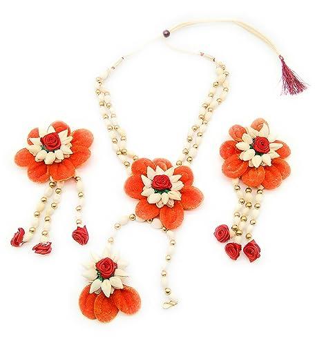 Buy Orange Rose Petal And White Colors Jasmine Mogra Flower Kli