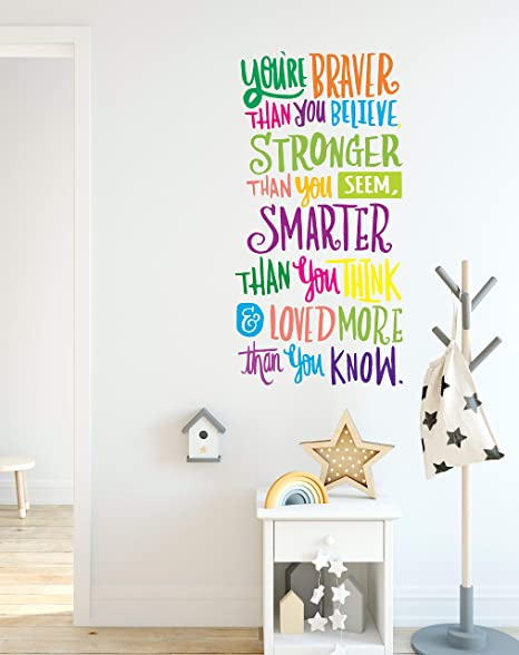 School Decor You/'re Braver Than You Believe.. Vinyl Art Designed For Home Saying For Kids CG1105 Inspiring Quote for Kids Wall Decal