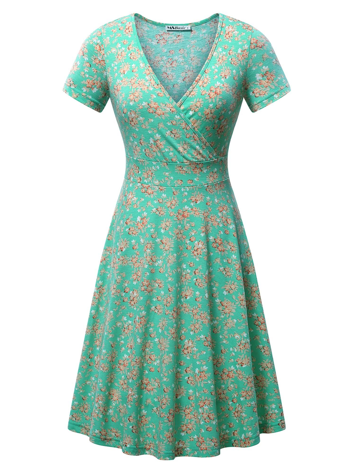 MSBASIC Dress for Women Party, Casual V Neck A line Short Sleeve Flare Green Vintage Midi Dress Medium Floral-1