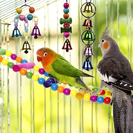 Ichiias Bird Toy Interactive Pappagalli Masticare Palline circolari in Legno Pattan appesi Giocattoli in Gabbia