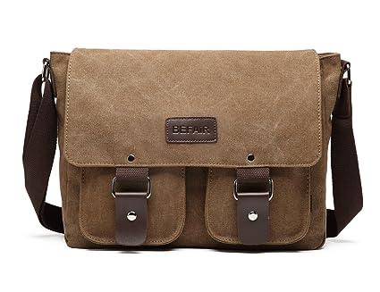 BEFAiR Canvas Messenger Bag Vintage Shoulder Bag Laptop Bag School Bag  Bookbag Travel Bag for Men af00cc7ad1038