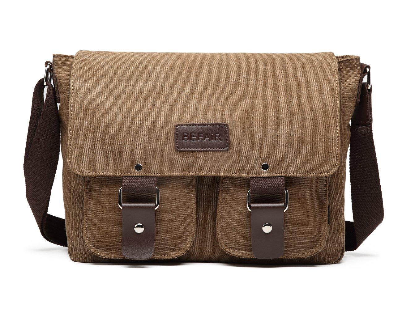 BEFAiR Canvas Messenger Bag Vintage Shoulder Bag Laptop Bag School Bag Bookbag Travel Bag for Men and Women Coffee