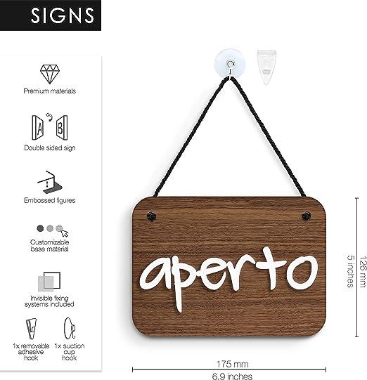 Cartello Aperto//Chiuso 3DP Signs a Rilievo Ristoranti o Negozi Elegante Cartello Aperto Chiuso per Porta vetrina Ingresso di Bar Pub OC19 Scritto a Mano