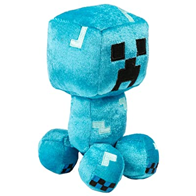 """JINX Minecraft Happy Explorer Charged Creeper Plush Stuffed Toy, Blue, 7"""" Tall: Toys & Games"""