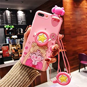 MOQINO Cartoon Funny Pink Sailor Moon For iPhone Case Holder Stand Strap Soft TPU Case Cover Phone Case (Style 2,For iPhone 11 Pro Max)