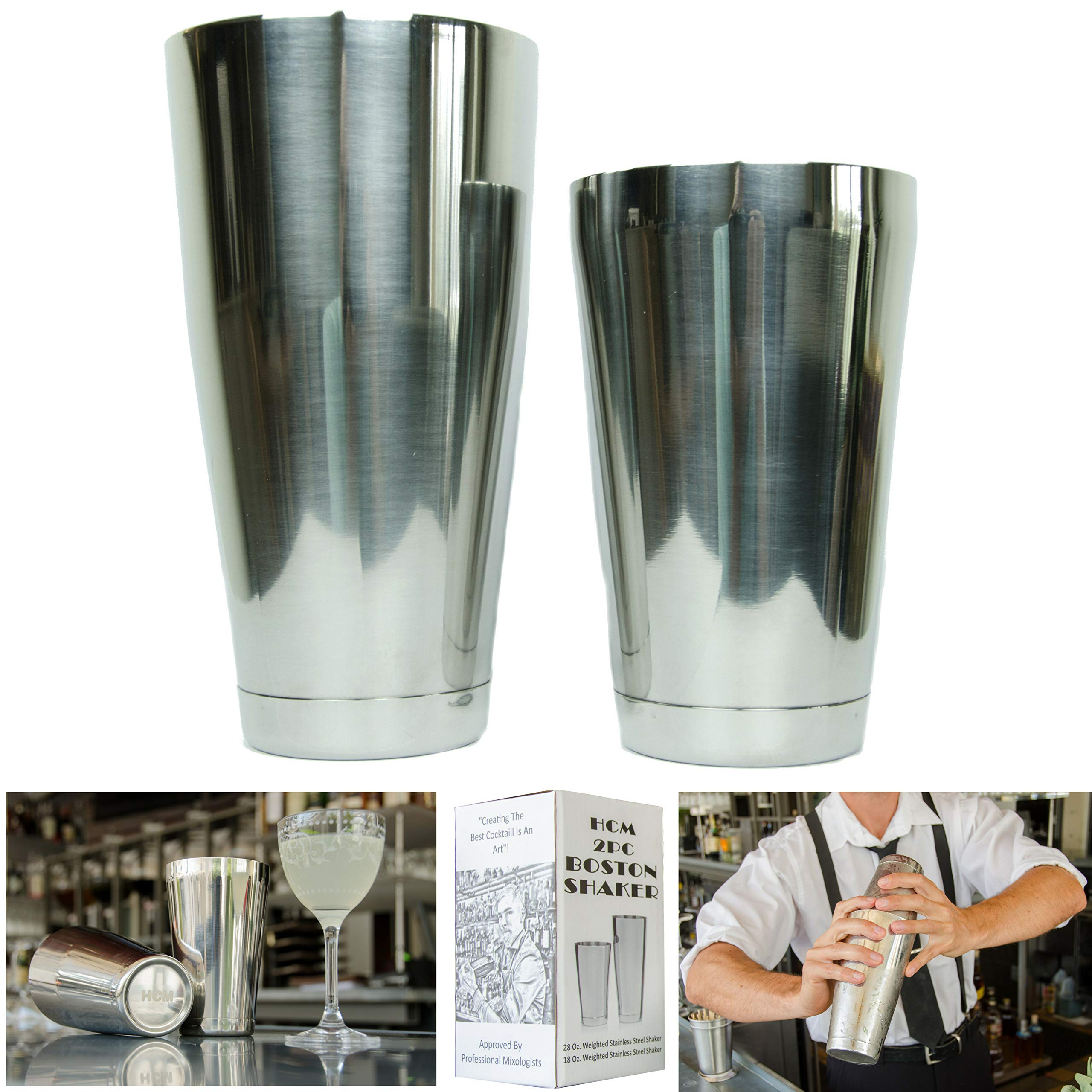 No.1 Stainless Steel Cocktail Boston Shakers 2pc Bar Set, 18oz & 28oz Weighted, Professional Bartender Drink Shaker, Great For Mixed Drinks, Cocktails, Martini, Perfect For Home & Commercial Bar Use