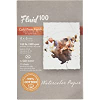Fluid 100 Watercolor Paper 811202 140LB 100% Cotton Cold Press 4 x 6 Block, 15 Sheets