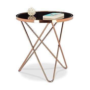 Relaxdays Table D Appoint Ronde En Cuivre Hxlxp 58 X 55 X 55 Cm